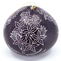 Handcrafted Carved Gourd Art Purple Hyacinth Floral Ornament Made in Peru