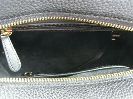Michael Kors NEW Black Leather Crossbody Messenger Hand Bag Pebbled Gold X image 6