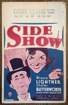 *SIDE SHOW (1931) Window Card Winnie Lilghtner & Charles Butterworth Mus... - $175.00
