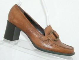 Franco Sarto brown leather round toe buckle slip on penny loafer block heel 6M - $31.43