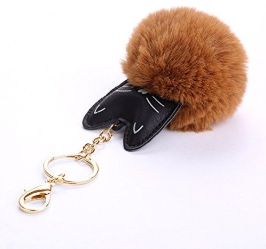 Youngate Mini Cat Shape Cute Kitty Rabbit Fur Pompom Keychain Phone Ornament