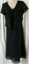 R&K Dress 14 Black Rhine Stones V Neck Short Sleeves Maxi Solid - $19.60