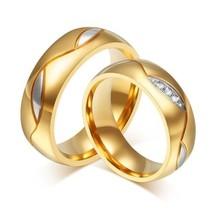 2pcs 18k Gold Plated Titanium Steel Couple Ring Engagement Wedding Promi... - $403,03 MXN