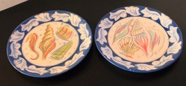 2  Coquille Dinner Plates Sea Horse and Seashells, Beautiful Hand Painted, - $14.95