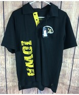 IOWA HAWKEYES Shirt Men's Polo Black & Yellow Small Authentic football - $11.49