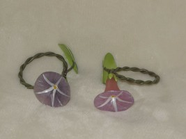 Home Presents 202091 Morning Glory Flower Napkin Ring Set 4 Purple Pink ... - $29.20