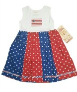 Chicken Noodle Girls Dress Red White Blue 4T Sleeveless Flag Stars 4th o... - $33.24