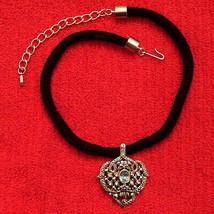 EVANGELISTA PENDANT on Black Velvet Cord faux Aquamarine VINTAGE Silver ... - $29.65