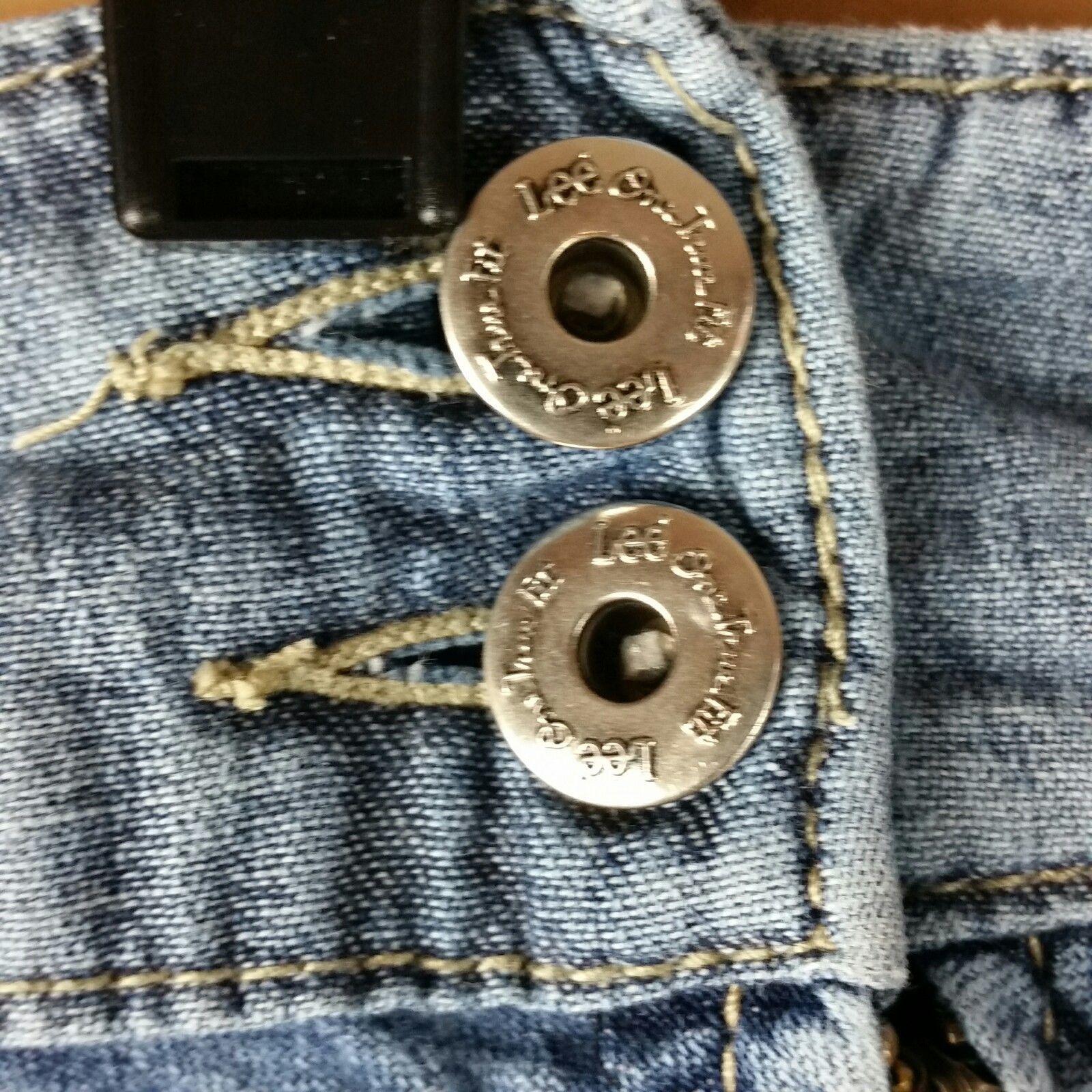 LEE Jean Skirt Womens One True Fit Modest Denim Fringe Hem Size 15/16M image 2