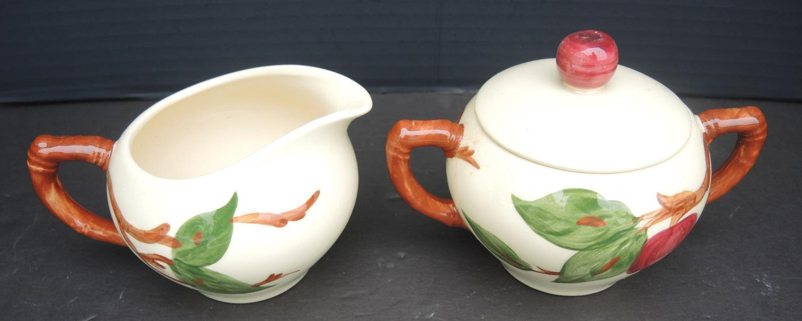 Vintage Franciscan Creamer and Sugar With Lid - Apple Pattern
