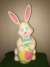 "NEW Vintage 27"" Grand Venture White Easter Bunny Lighted Blow Mold Decor... - $106.91"