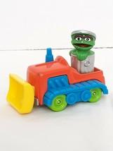 1986 Playskool Sesame Street Oscar The Grouch In Bulldozer Die Cast Metal Car - $6.20