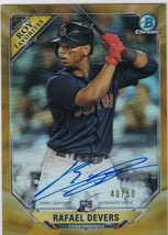 2018 Bowman Chrome Rafael Devers Gold Refractor Auto Autograph Card Limi... - $239.22