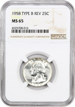 1958 25c NGC MS65 (Type B Reverse) Scarcer Variety - Washington Quarter - $92.15