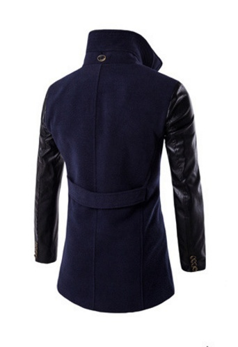 2018 new winter men's fashion double breasted coat collar double stitching leath