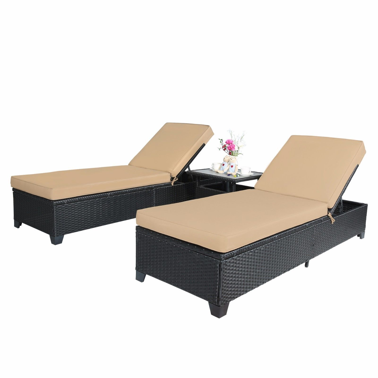 3 PC Outdoor Rattan Wicker Chaise Lounge Adjustable Garden Pool Chairs and Table