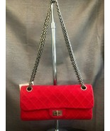 CHANEL Small Red Cotton Quilted Flap Shoulder Bag w/Adjustable Strap - $1,423.62