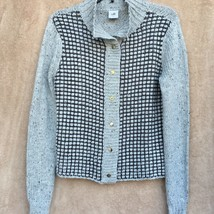 CAbi Square Stitch Sweater Gray Knit Size Small Womens Long Sleeve Snap ... - $24.75