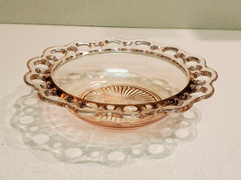 Vintage Old Colony Pink Depression Glass Ribbed Looped Edge Dish Bowl - $14.80