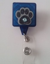Black Glitter Paw Print badge reel key ID card holder lanyard retractabl... - $9.00