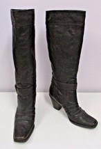 """STUART WEITZMAN Brown Tall Leather Boots w/ """"Belt"""" around the Ankle - Size 6 1/2 - $85.00"""