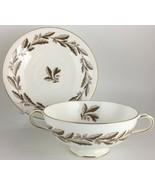 Minton Elizabethan Oak Brown S-642 Cream soup bowl & saucer - $25.00