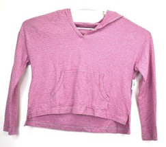 NEW LOVE by GAP Womens Large Opened V-Neck Hooded Pocket Shirt Striped Pink Grey - $14.99