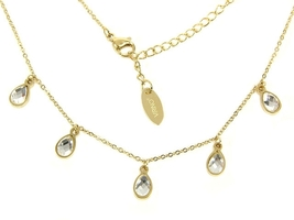 Stainless Steel delicate and dainty gold chain necklace crystal charms - $26.00