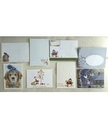 4X Christmas Cards NEW VINTAGE Custom Matching Envelopes Dog Santa Birds - $19.79