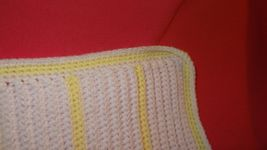 Handmade Crochet Baby Girl Boy Blanket Afghan White Yellow Unisex Newborn Stripe image 6