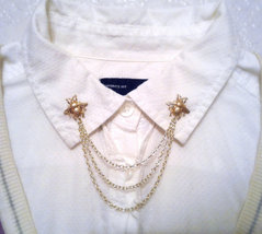 Gold Bee Collar Pins Bee Sweater Pins Gold Collar Chain Hipster Collar P... - $38.00