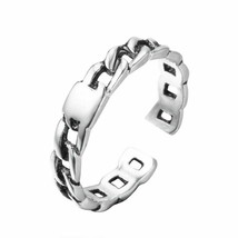Jewelry Silver Color Thin Chain Black Tone Ring Midi Decorative Pattern ... - $8.90