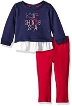 Nautica Girl's 4-6x Double Knit Top & Pant Set Love The Shining Sea Shirt Pants