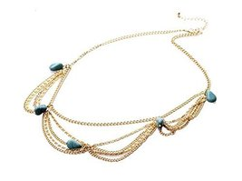 Bride Frontlet Forehead Chain Retro Tassel Headdress, Turquoise