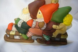 Vaillancourt Folk Art, Three Christmas Gnomes on Sled  Ornament hand Blown image 2