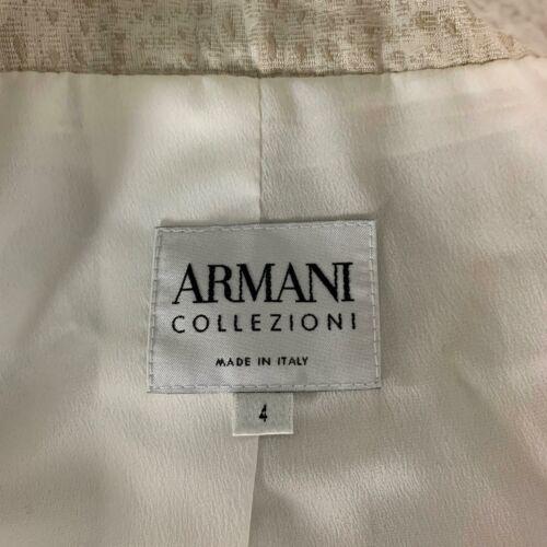 Armani Collezioni Blazer Jacket Silk Ivory Animal Print Women Sz 4 Italy
