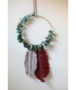 Burgundy and Tan Feather Macrame Hoop Wall Hanging - $40.00