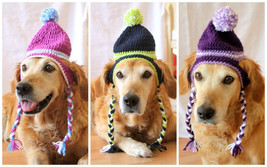 Dog Hat, Ear Flap Dog Hat, Dog Beanie, Pom Pom Hat for Dogs, Toboggan Ha... - $19.95