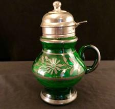 Green Glass Syrup Dispencer With Silver Leaf Design Antique Vintage - $26.24