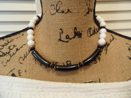 60s Mod Monet Necklace Black and White Wedding Monet Jewelry 1960s Jewelry - $27.00