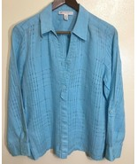 Linen Open Weave Button Down Shirt Womens Petite 12 Size 12P Large JM Co... - $24.74