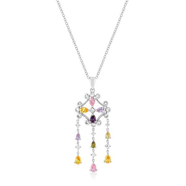 Silvertone Multi-Color Dangle Pendant - $38.00