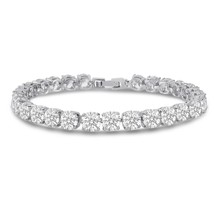 CZ Tennis Bracelet 5mm Round Cut Silver over Brass 7 inch - $51.26