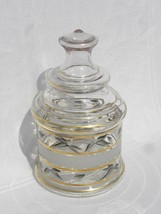 Vintage Clear Glass Covered Jar with Grey Painted Leaves, White Dots & G... - $17.99
