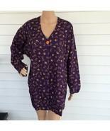 Avon Purple Print Rayon Jacket Long Blouse Tunic Top 1 Button Casual L New - $7.59