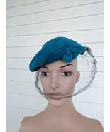 Blue Hat Soft Greenish Dark Wool 22 1/2 Vintage - $24.00