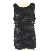 Karen Kane Womens Size XL Black Ruffled Blouse Metallic Gold Tiered Cami... - $13.85