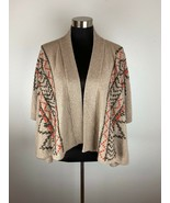 Jamison Womens Cardigan Sweater S Small Beige Aztec Embroidered Wool Cas... - $79.19