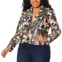 Colleen Lopez Plus Size Effortlessly Edgy Faux Leather Jacket Black Floral - $49.00
