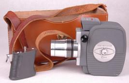 Vtg Keystone K-606 8mm Movie Camera-Zoom Lens-Handle-Leather Case-Light ... - $32.71